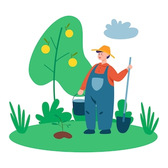 Persona che lavora su un fram. coltivatore che lavora sul campo con forcone e pala. vivere nel villaggio. illustrazione piana di vettore isolato