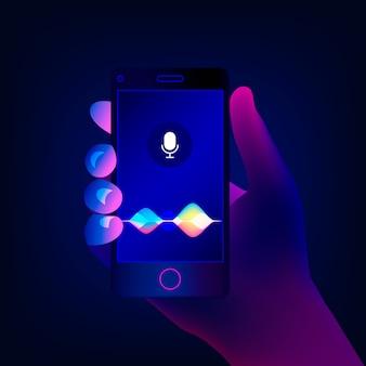 Assistente personale e concetto di riconoscimento vocale. tecnologie intelligenti soundwave. la mano tiene uno smartphone sullo schermo del pulsante del microfono con voce brillante e onde di imitazione del suono.
