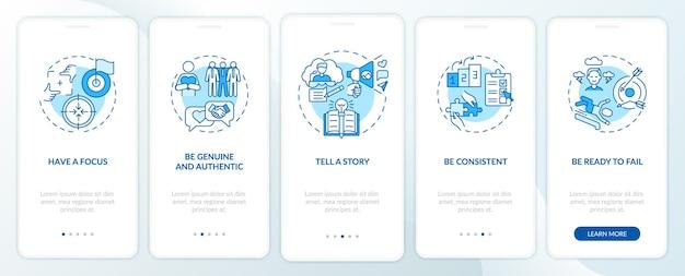 Regole di branding personale schermata della pagina dell'app mobile onboarding blu con concetti