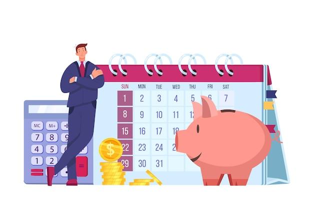 Illustrazione piana dei soldi finanziari di pianificazione del budget personale