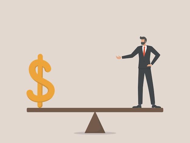 Concetto di equilibrio di bilancio personale o aziendale, tasse, denaro, risparmio, investimento.