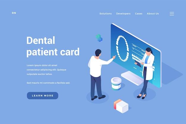 Scheda personale dell'odontoiatria del paziente i dentisti guardano le immagini dentali dei clienti nel documento online
