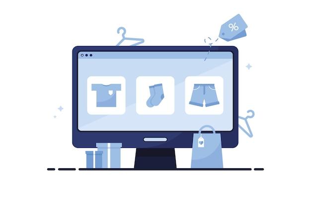 Personal computer con negozio online dove il catalogo di abbigliamento mostra t-shirt, calzini e pantaloncini. blu
