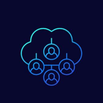 Dati personali nel cloud, icona linea sottile