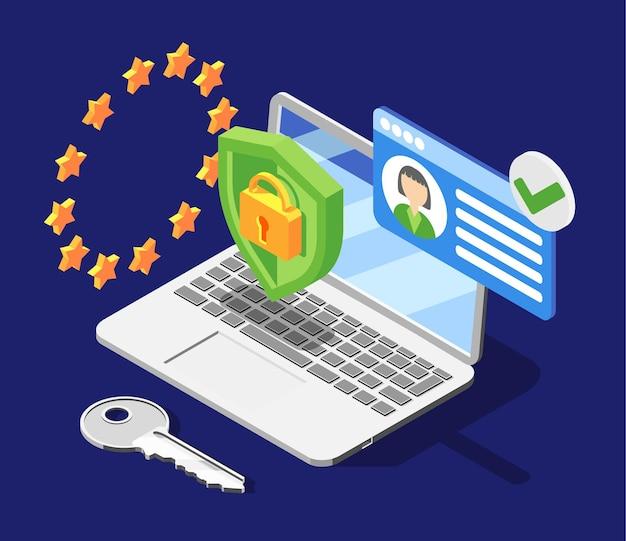 Illustrazione isometrica di protezione dei dati personali gdpr