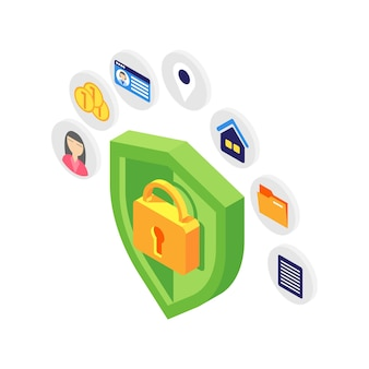 Concetto isometrico di protezione dei dati personali con scudo verde su bianco