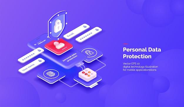 Sistema di protezione dei dati personali. un telefono cellulare con un'illustrazione 3d dell'interfaccia di sicurezza
