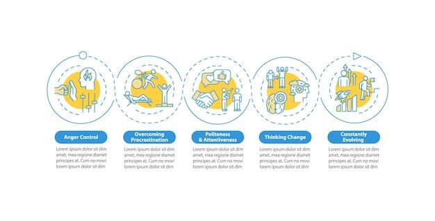 Modello di infographic di vettore di evoluzione personale. atteggiamento migliorato nei confronti degli elementi di design della presentazione della vita. visualizzazione dei dati con 5 passaggi. grafico della sequenza temporale del processo. layout del flusso di lavoro con icone lineari
