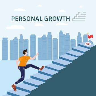 Crescita personale giovane che corre su scala concept