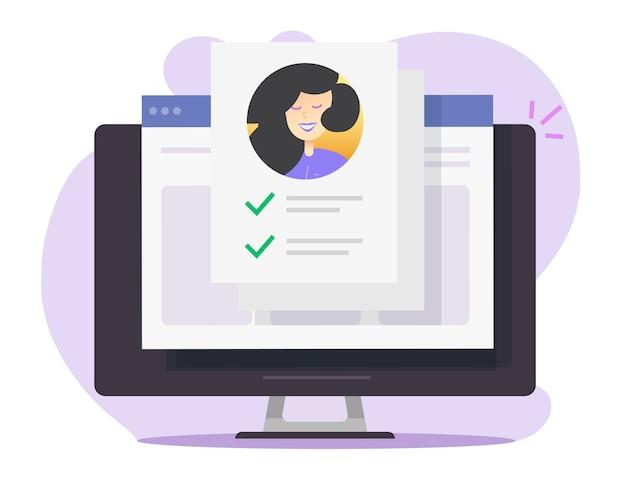 Documento della lista di controllo del modulo di carta d'identità personale online sul computer desktop