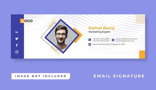 Design minimalista personale del modello di firma e-mail o piè di pagina e-mail e copertina personale dei social media