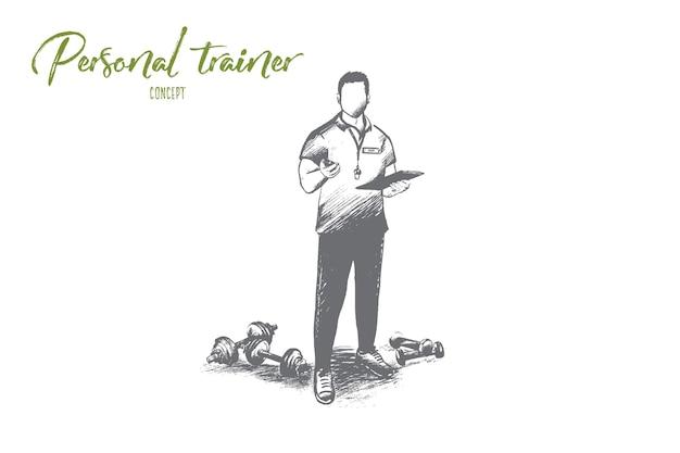 Concetto di personal trainer. istruttore di fitness professionale disegnato a mano. allenatore maschio bello con illustrazione isolata appunti.