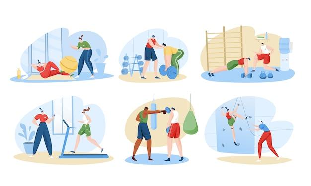Insieme dell'illustrazione di personal trainer sport coach