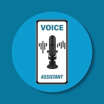 Assistente vocale personale su smartphone. Vettore Premium