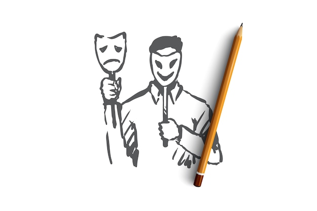 Personalità, carattere, uomo, viso, concetto di psicologia. persona disegnata a mano con maschera sullo schizzo di concetto del viso.
