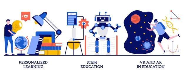Apprendimento personalizzato, educazione staminali, vr e ar nel concetto di educazione con persone minuscole. programma di studio personale, sistema accademico, set di illustrazioni vettoriali astratte di tecnologia futuristica.