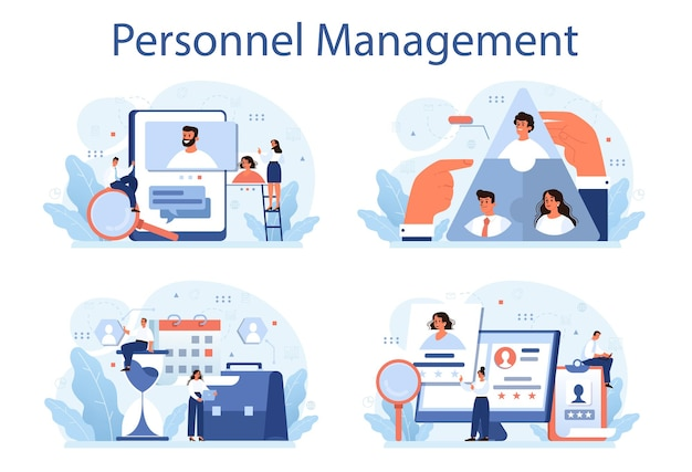 Insieme dell'illustrazione di gestione del personale