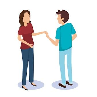 Progettazione isometrica dell'illustrazione di vettore degli avatar delle coppie delle persone