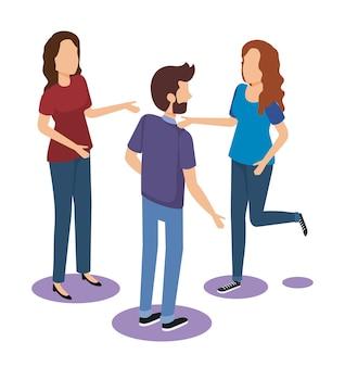 Progettazione isometrica dell'illustrazione di vettore degli avatar del gruppo delle persone
