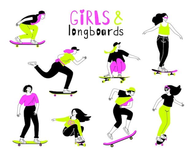 Persone su longboard. adolescenti di sesso femminile del fumetto su tavole, salti e trucchi sportivi di allenamento, concetto di attività ricreativa all'aperto su skateboarder isolato su sfondo bianco