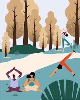 Persone che praticano la scena del paesaggio yoga