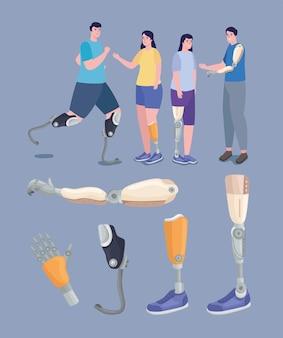 Persone che utilizzano protesi