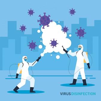 Persone con tuta protettiva per spruzzare il concetto di virus disinfezione covid-19