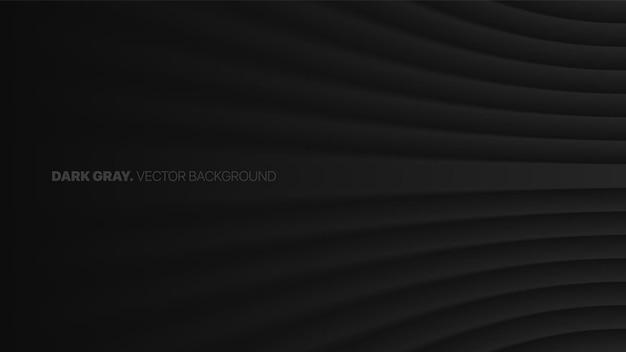 Prospettiva piegato linee lisce 3d effetto sfocato sfondo astratto grigio scuro