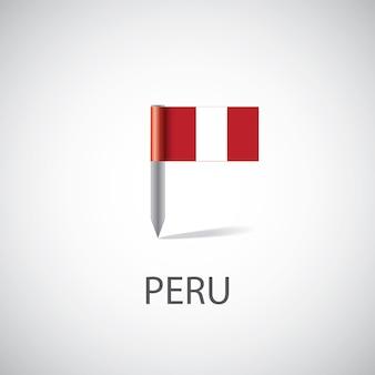Perno della bandiera del perù, isolato su sfondo chiaro