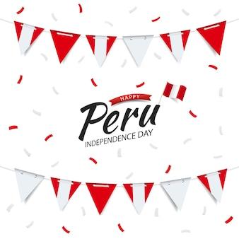 Ghirlanda del giorno dell'indipendenza del perù con la bandiera del perù