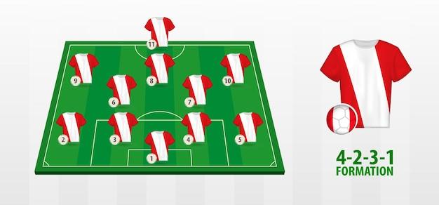 Formazione nazionale di calcio del perù sul campo di calcio.