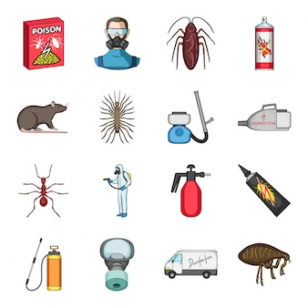Icona stabilita del fumetto di controllo dei parassiti. sterminatore. controllo dei parassiti stabilito dell'icona del fumetto isolato.