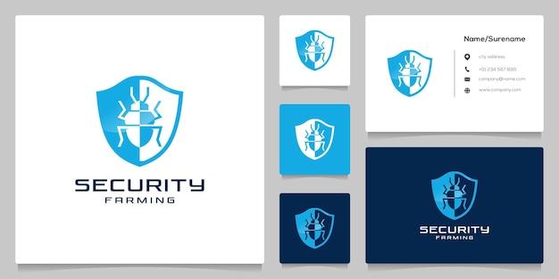 Sicurezza degli insetti per il controllo dei parassiti con scudo e bug per il design del logo dell'azienda agricola con biglietto da visita