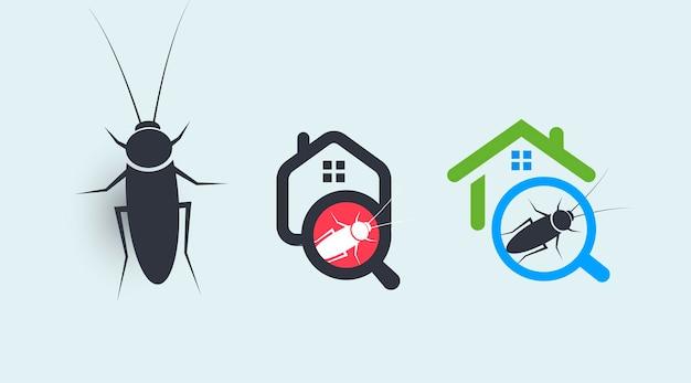 Insieme di concetti del logo del servizio di controllo dei parassiti protezione della casa dai simboli degli insetti
