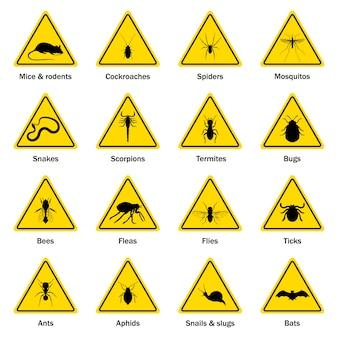 Insieme di simboli di controllo dei parassiti e degli insetti