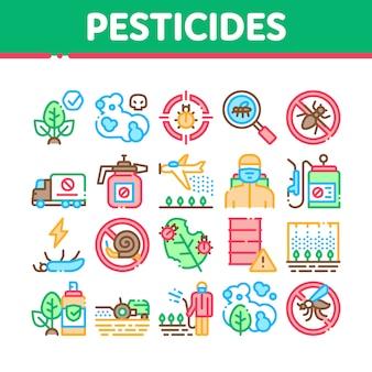 Set di icone di raccolta chimica di pesticidi