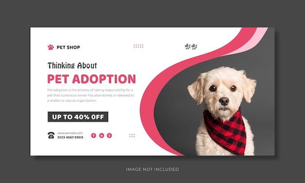 Progettazione di banner web per l'adozione di animali domestici e modello di anteprima di youtube per la cura degli animali domestici.