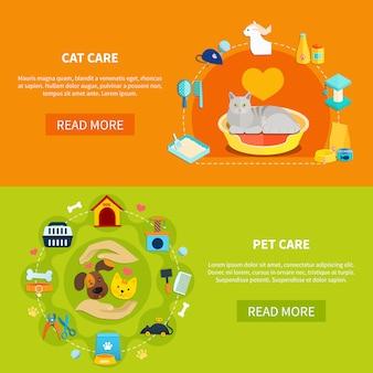Banner per la cura degli animali domestici Vettore Premium
