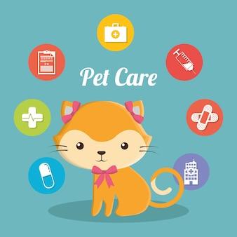 Icone di servizio del centro di cura degli animali domestici