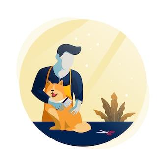 Illustrazione piana del salone di cura dell'animale domestico