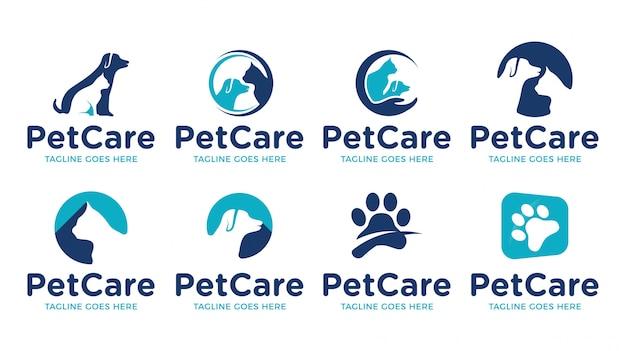 Insieme di modelli di logo animale negozio di animali gatto cane negozio