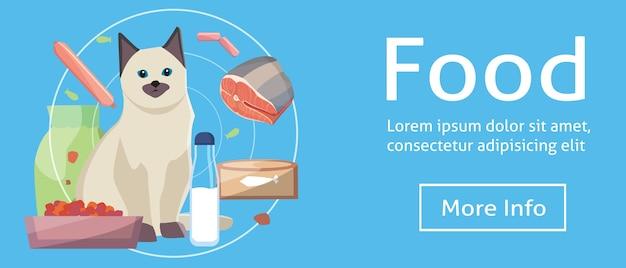 Alimenti per gatti. gatto con il concetto di alimenti per gatti sui banner. illustrazione del fumetto.