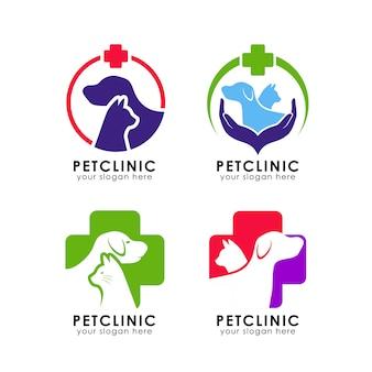 Modello di logo della clinica per animali domestici