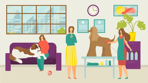 Illustrazione di toelettatura del cane da compagnia