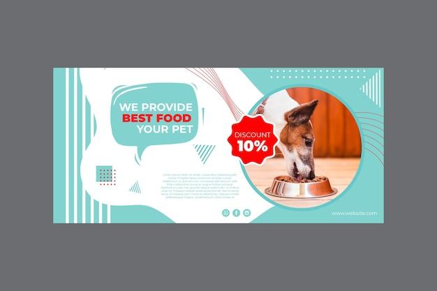 Modello di banner di cibo per animali domestici con foto Vettore Premium