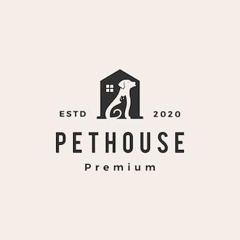 Logo vintage per animali domestici cane gatto
