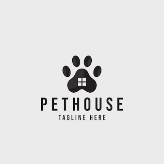 Pet house logo concept design cane gatto cura degli animali domestici logo vettoriale
