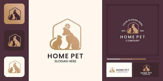 Design del logo della casa dell'animale domestico, animale domestico felice e biglietto da visita
