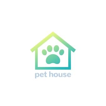 Logo della casa dell'animale domestico, zampa e icona del vettore domestico