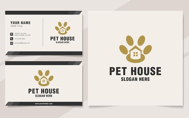 Modello di logo della casa dell'animale domestico in stile monogramma